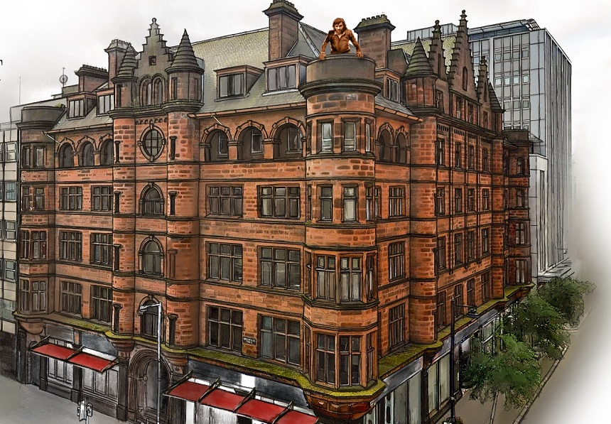 hotels in Belfast city centre - George Best Hotel and rooftop statue